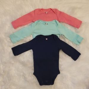 3 Carter's long sleeve onesies